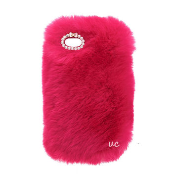 COZY FUR PHONE CASE HOT PINK