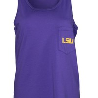 Official NCAA Louisiana State University Tigers LSU GEAUX Tiger Mike Women's Tonal Pocket Boyfriend Tank Top