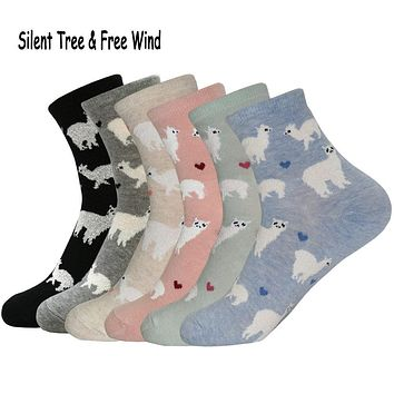 Women Funny Alpaca Mammal llama Short Sock Japanese Cute Female Ladies Alpacas Animals Character Cotton Socks Candy Color