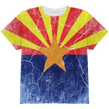Arizona Vintage Distressed State Flag All Over Youth T Shirt