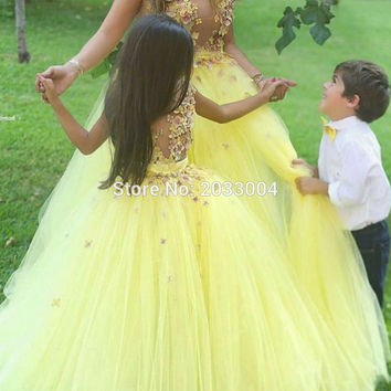 Ball Gown Yellow Flower Flower girls Dresses for Wedding 2016 Cute Floor Length Princess Gown Puff Tulle