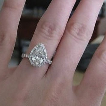 4.92ct Pear Shape Diamond Engagement Ring EGL certified 18kt White Gold JEWELFORME BLUE