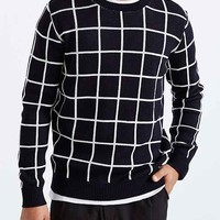 Windowpane Crew Neck Sweater- Navy