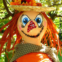 Scarecrow Gourd Birdhouse or Cute Fall Decoration too Hand Painted Adorable Designs by Sugarbear - So Sweet!