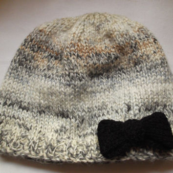 Cream-grey-brown chunky pull on hat with black bow - One of a Kind - size Small