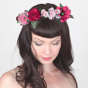 Romantic Bohemian Flower Crown - Floral Head Wreath - Statement Head Piece, Unique Wedding Circlet, Halo