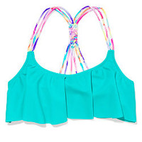 Knotted-Back Flounce Crop Top - PINK - Victoria's Secret