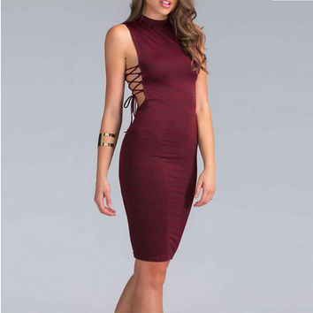 Sexy Bandage Night Clubwear Dress Side Cross Tie Up Women Summer Dress Bodycon Party Dresses Casual Sleeveless Vestido De Fiesta