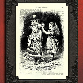 Altered book page Alice in wonderland print - dictionary vintage art, alice digital prints