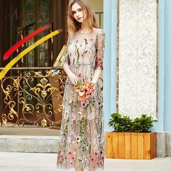 ArtSu Women Casual Dress Spring Two Piece Mesh Maxi Dress Robe 2018 Vintage Embroidery Flower Beach Dresses Vestidos ASDR20452