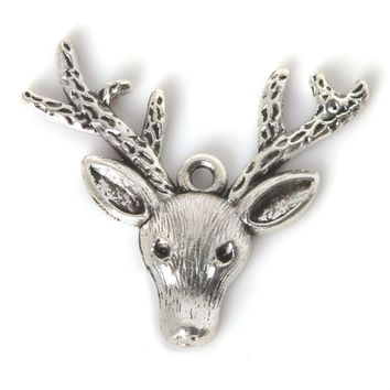Deer head w/ antlers antique silver 33X37mm charm