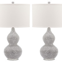 Table Lamp, Nicole Beaded Lamp Set, Silver, Table Lamps