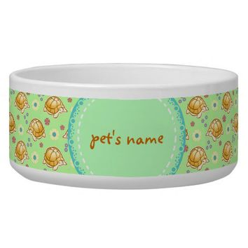 Turtles and Spring Flowers Pattern Pet Food Bowls from Zazzle.com