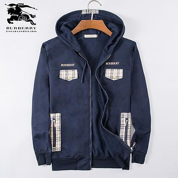 Boys & Men Burberry Fashion Casual Cardigan Jacket Coat Hoodie