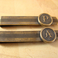 Personalized Tie Clips, Retro Style, Set of Two - Choose Any Two Letters. Perfect for Weddings