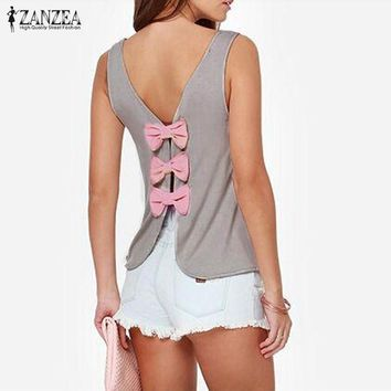 2016 ZANZEA New Women Fashion Summer Vest Tops Casual Back Bow Sexy Backless Tank Tops Blusas Femininas Plus Size 3 Colors