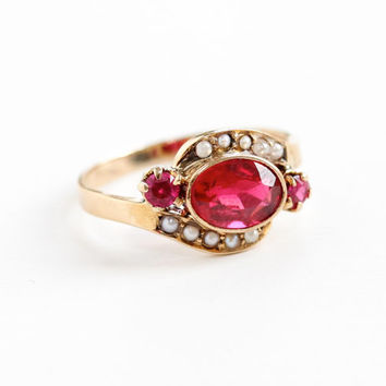 Antique Victorian 10k Rose Gold Garnet Doublet, Created Rubies, & Seed Pearl Ring - Vintage Early 1900s Red Gemstone Fine Bypass Jewelry