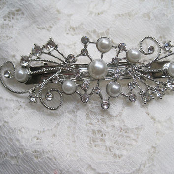 Gorgeous Silver Pearl and Clear Crystals Bridal Clip Hair Accessories Clips for Hair Wedding Prom Homecoming