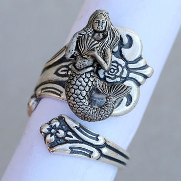 2017 Newest Vintage Mermaid Ring Wrapped Antique Silver Plated Spoon Ring Jewelry Gift for women Drop Shipping with box YLQ0327