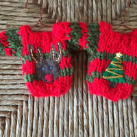 Hand Knit Christmas Ornaments, set of 2 tiny sweater ornaments, Xmas Tree Ornament, Reindeer Ornament, Old fashioned xmas, Present Topper