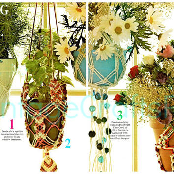 4 Macrame Patterns Instant Download PDF Vintage Macrame Plant Hanger Gorgeous Planters Lovingly ENLARGED Print and Diagrams Hang It All