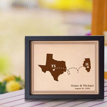 Lik12 Leather Engraved Wedding Third Anniversary Gift Personalized Anniversary Gift Love Story US states texas illinois