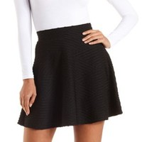 Twisted Texture Skater Skirt by Charlotte Russe - Black