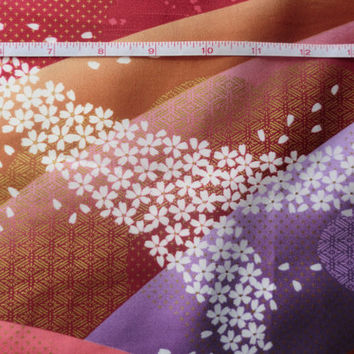 Japanese tradicional cotton fabric half a yard pink sakura waves, golden nuances, quilt decoration kawaii fabric,