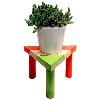 Modern Geometric Triangle Plant Or Candle Stand (Pictured In Red Hot and Bamboo) Miniature Table Home decor Garden Decor