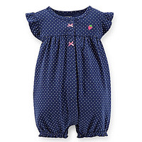 Carter's Newborn-24 Months Dotted Strawberry Romper - Navy