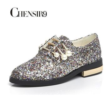 CHENSIR9 Genuine Leather Glitter Women Shoes Flats Loafers Slip On Shoes Woman Pearl s