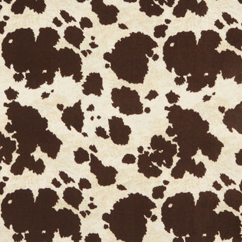 Brown And White, Cow Print Microfiber Upholstery Fabric