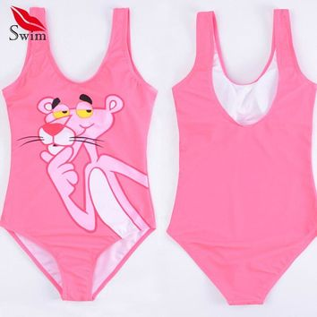 Bikinis Female 2019 One Piece Swimsuit Push Up Pink Panther Monokini String Swim Suits Bathing Suit Plus Size Swimsuit Bikini