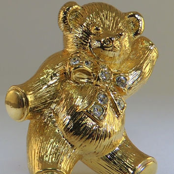 Avon Vintage Jewelry Gold Washed Brooch or Pendant  Bear with Rhinestones on Yellow Gold Tone