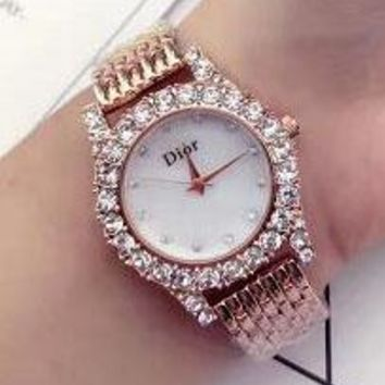 DIOR Diamond Trending Watch Ladies Men Watch Little Ltaly Stylish Watch Rose Golden G-YF-GZYFBY
