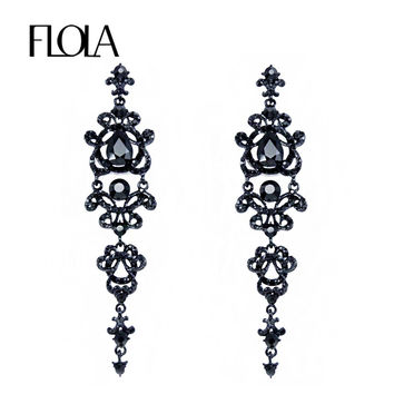 Vintage Black Long Earrings with Stones Rhinestones Long Chandelier Earrings Gothic Fashion Jewelry Earrings for Women ersh34