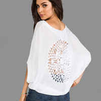 Indah Arica Loose Blouse in White