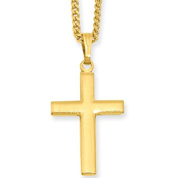 18 Inch Gold Plated Large Cross Necklace by Kelly Waters