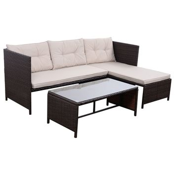 3 PCS Outdoor Rattan Furniture Sofa Set Lounge Chaise Cushioned Patio Garden