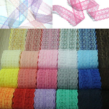 High Quality 1 yard Lace Applique Ribbon Lace Trim Sewing Accessories Trim Fabric for DIY Crafts Cloths Wedding Dresses