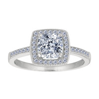 Sterling Silver With Rhodium Finish Cushion Center And Pave' Set Side Cz Stones Engagement Style Ring