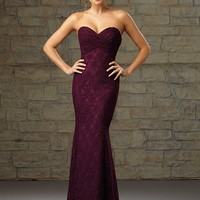 Mori Lee 726 Long Lace Bridesmaid Dress