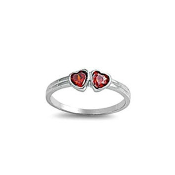 Sterling Silver Garnet Red CZ Twin Heart Ring Size 1-5