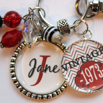 Personalized vintage 40th birthday keychain name mother sister aunt daughter 40th birthday milestone birthday red black vintage 1973 1963