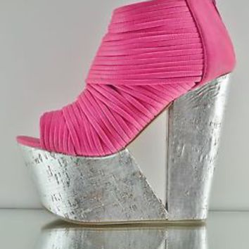 Privileged Maneater Cut Out Platform Wedge Bootie Shoe Silver Fuchsia Pink 6-10