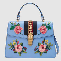 Gucci Sylvie embroidered leather top handle bag