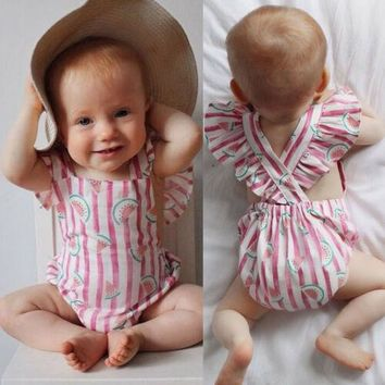 Willow's Pink Vertical striped Watermelon Romper