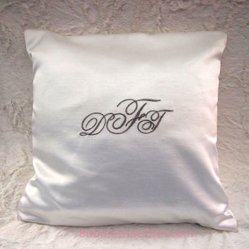 Ring Bearer Pillow Custom Monogrammed Embroidered Bride & Groom Monogram Wedding Keepsake