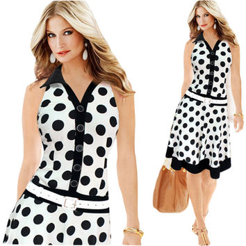 Summer Style Women Dress Plus Size Dresses  New Exoplosion Models Polka Dot Printing Sleeveless Dress Vestido Mujer C145