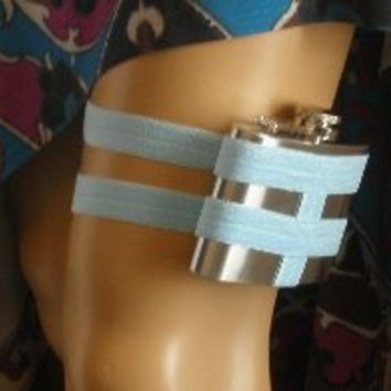 Flask Garter - WITH 4oz FLASK - Baby Blue - Fun and unique something blue wedding garter